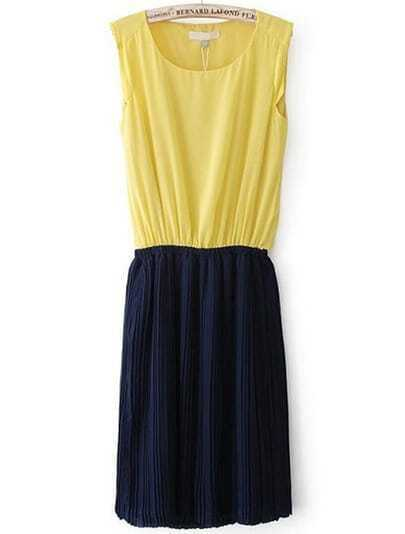 Yellow Contrast Black Sleeveless Pleated Chiffon Dress