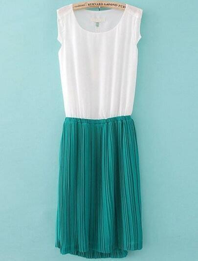 White Contrast Green Sleeveless Pleated Chiffon Dress