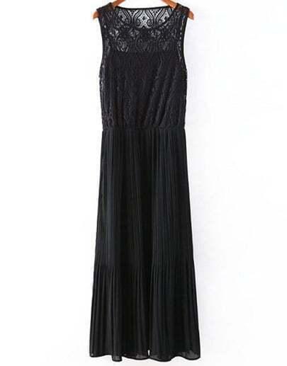 Black Sleeveless Hollow Pleated Chiffon Dress