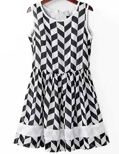 Black White Sleeveless Geometric Print Chiffon Dress