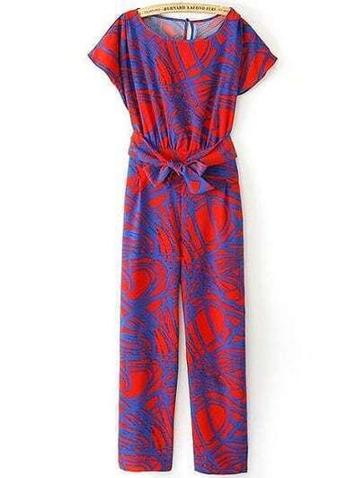 Red Short Sleeve Belt Geometric Print Jumpsuit