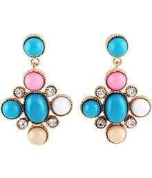 Blue Gemstone Gold Diamond Earrings