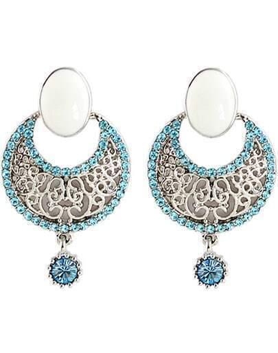 Blue Diamond Silver Hollow Earrings