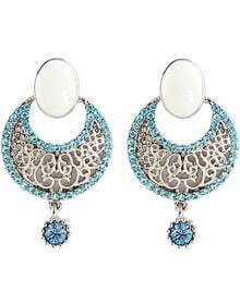 Blue Diamond Silver Hollow Earrings