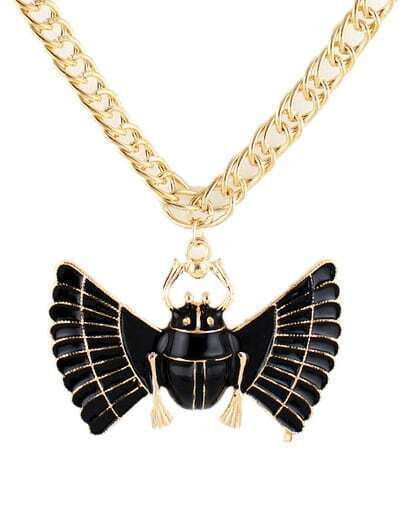 Black Glaze Insect Gold Chain Necklace