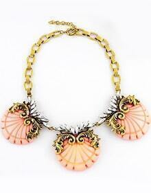 Pink Round Gold Chain Necklace