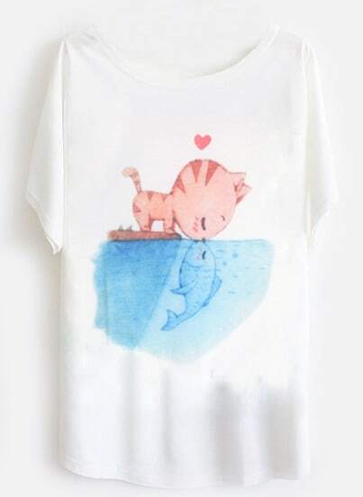 White Short Sleeve Cat Fish Print Loose T-Shirt