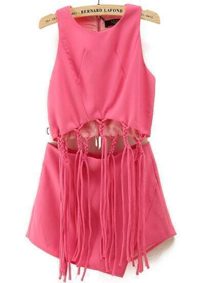 Rose Red Sleeveless Tassel Crop Top With Skirt