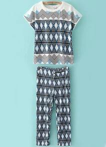 Blue Short Sleeve Geometric Print Top With Pant