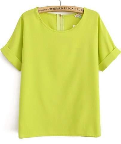 Green Short Sleeve Loose Chiffon Blouse