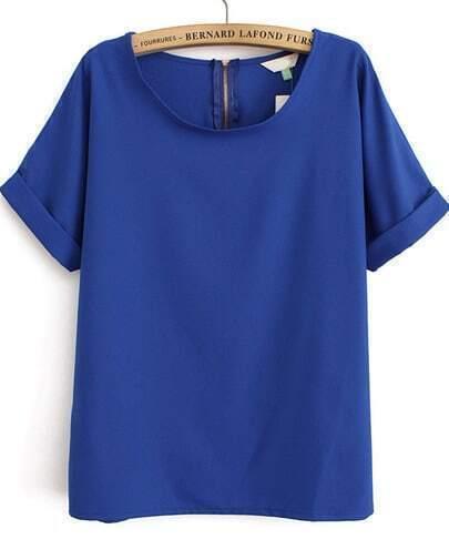 Royal Blue Short Sleeve Loose Chiffon Blouse