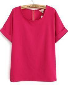 Rose Red Short Sleeve Loose Chiffon Blouse