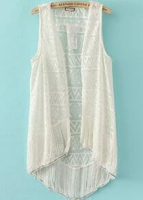 Beige Sleeveless Hollow Tassel Blouse