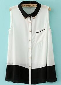 White Contrast Black Sleeveless Pocket Chiffon Blouse