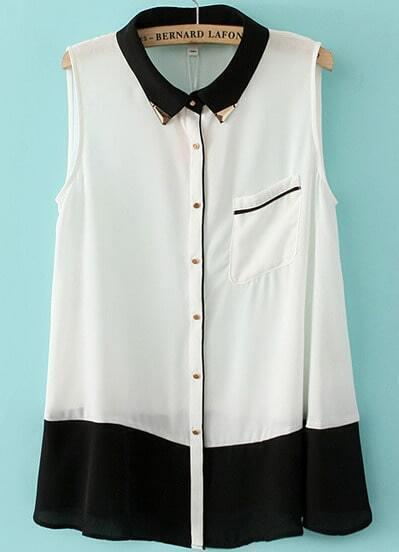 White Contrast Black Sleeveless Pocket Chiffon Blouse