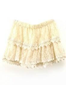 Apricot Elastic Waist Lace Skirt Shorts