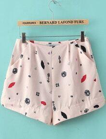 Pink Lip Print Chiffon Shorts