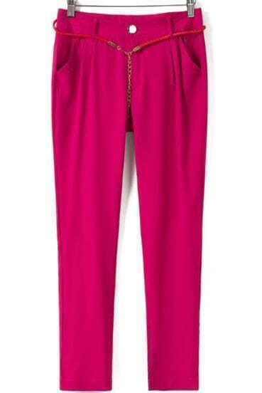 Rose Red Casual Pockets Loose Pant