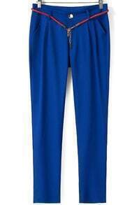 Royal Blue Casual Pockets Loose Pant
