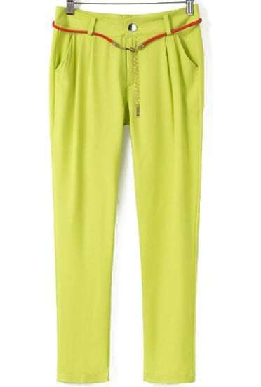 Green Casual Pockets Loose Pant