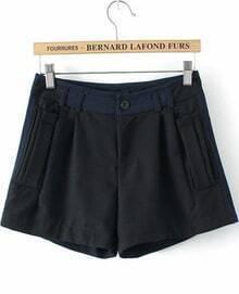 Black Slim Pockets Straight Shorts