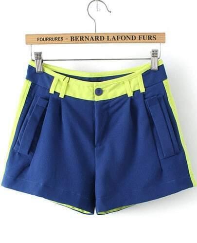 Blue Slim Pockets Straight Shorts