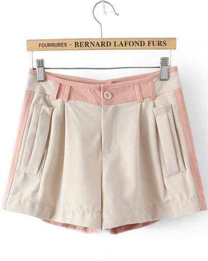Beige Slim Pockets Straight Shorts