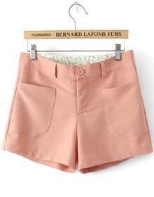 Pink Slim Pockets Chiffon Shorts
