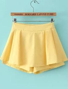 Yellow Ruffle Chiffon Skirt Shorts