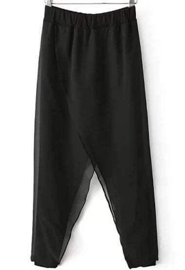 Black Elastic Waist Loose Chiffon Skirt Pant
