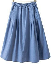 Blue Elastic Waist Pockets A Line Skirt