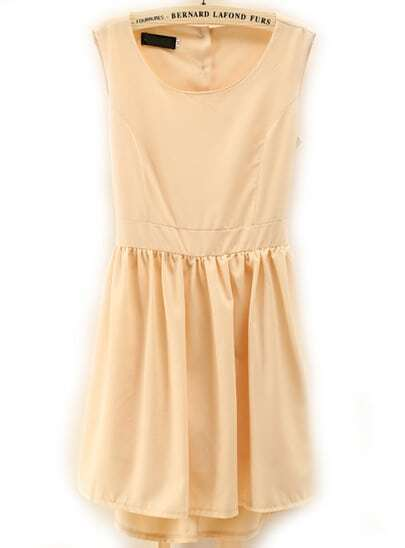 Apricot Sleeveless Midriff Pleated Slim Dress
