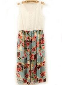 White Sleeveless Contrast Floral Chiffon Dress