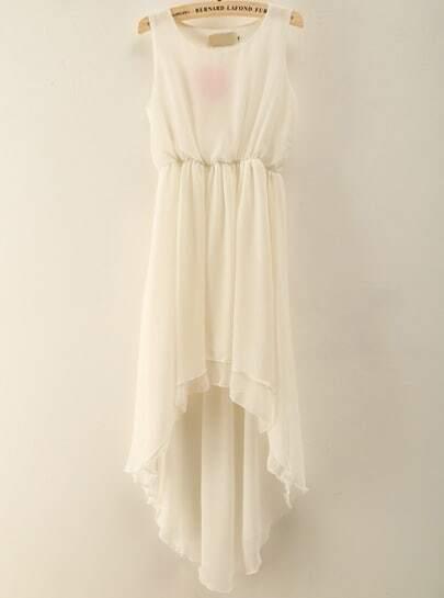 White Sleeveless Ruffle High Low Chiffon Dress