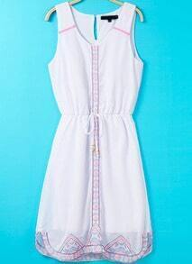 White Sleeveless Drawstring Embroidered Chiffon Dress