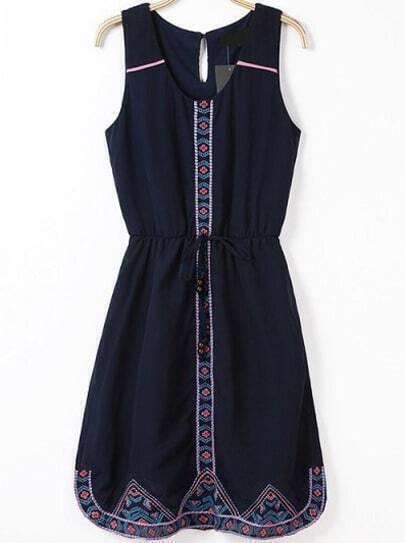 Navy Sleeveless Drawstring Embroidered Chiffon Dress