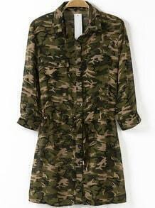 Army Green Lapel Camouflage Drawstring Chiffon Dress