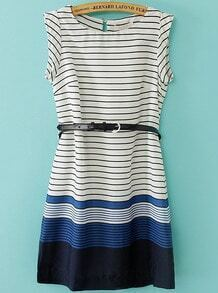 Navy Round Neck Sleeveless Striped Chiffon Dress