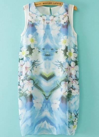 Blue Round Neck Sleeveless Floral Chiffon Dress
