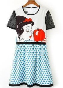 White Blue Lace Short Sleeve Polka Dot Snow White Print Dress
