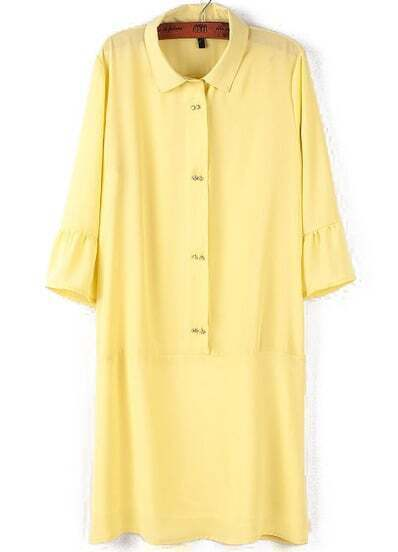 Yellow Lapel Half Sleeve Buttons Dress