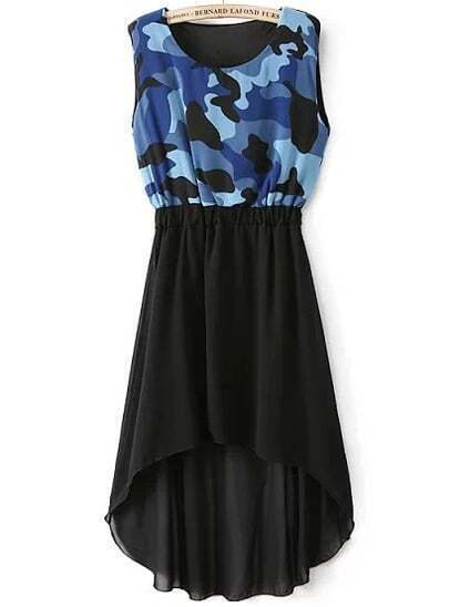 Blue Camouflage Sleeveless High Low Chiffon Dress