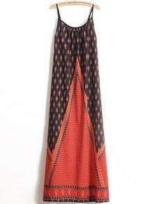 Red Spaghetti Strap Vintage Floral Dress