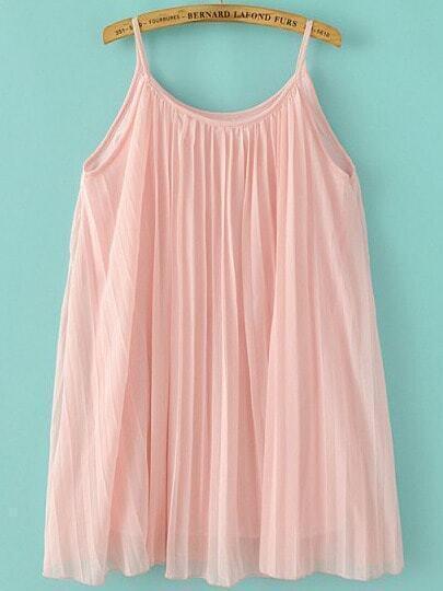Pink Spaghetti Strap Pleated Chiffon Dress