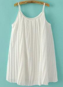White Spaghetti Strap Pleated Chiffon Dress