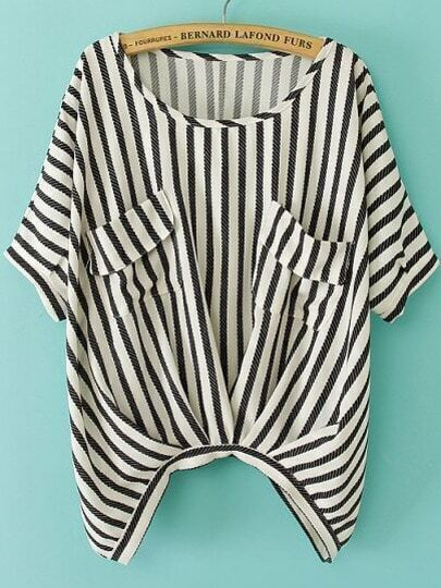 Black White Vertical Stripe Pockets Batwing Top