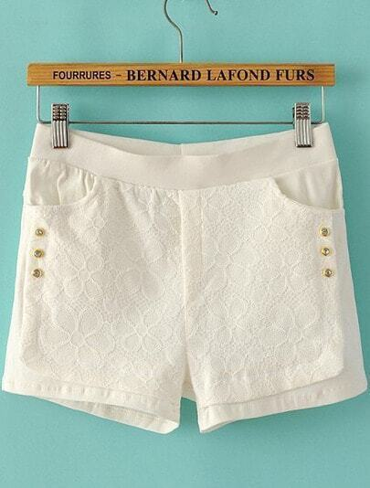 White Rhinestone Embroidered Lace Shorts