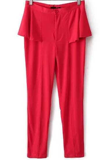Red Ruffle Button Slim Pant