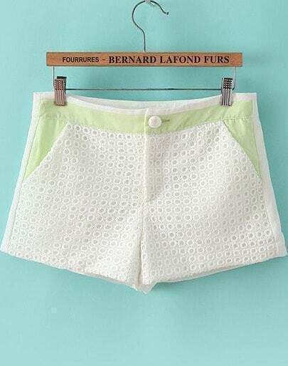 White Hollow Pockets Slim Shorts