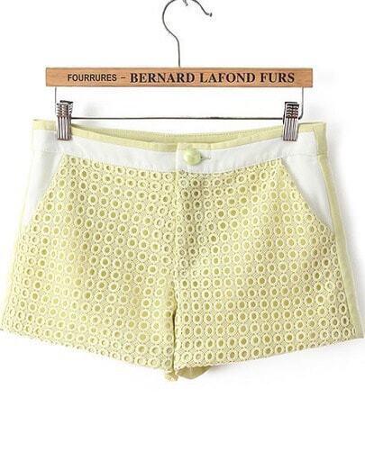 Green Hollow Pockets Slim Shorts